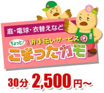 庭・電球・模様替え等 ちょっとお手伝いサービス こまったカモ  30分25,00円~